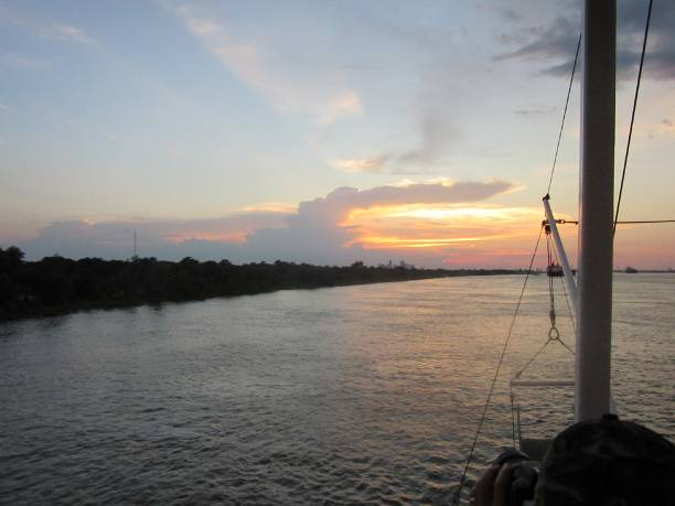 Sunset on the Mississippi River stock photo