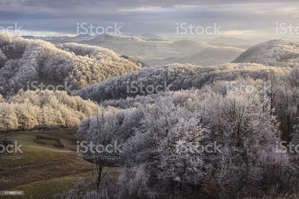 sunset on the mountains royalty-free stock photo