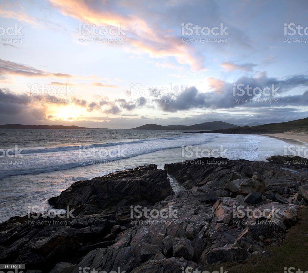 Sunset on the Outer Hebrides, Scotland stock photo