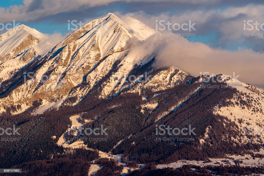 Sunset on the Petite and Grande Autane, Champsaur, Alps, France stock photo