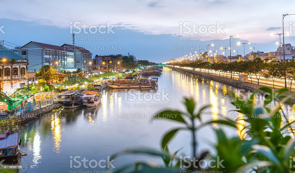 Sunset on the pier Binh Dong royalty-free stock photo