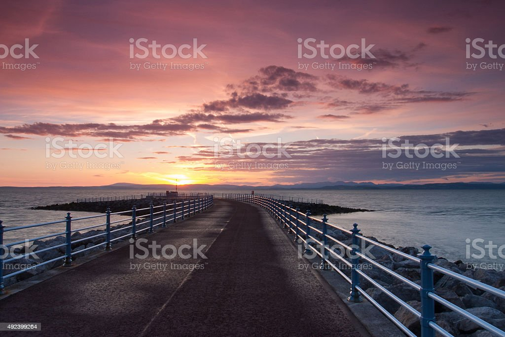 Sunset on the pier in Morecambe stock photo