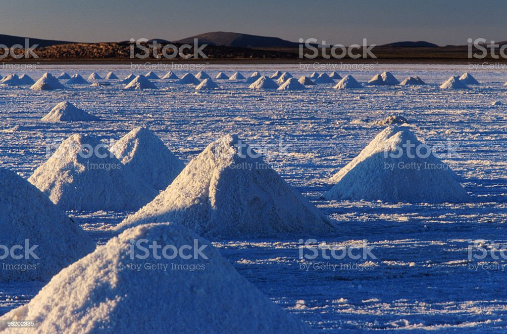 Sunset on the piles of salt, Salar de Uyuni, Bolivia royalty-free stock photo