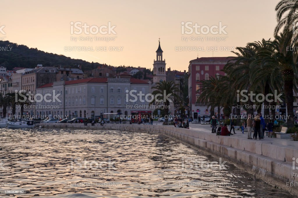Sunset on the port with the church and monastery of St. Frane in Split Split, Croatia - April 16 2019: Sunset on the port with the church and monastery of St. Frane (Croatian: Crkva i samostan sv. Frane). Adriatic Sea Stock Photo