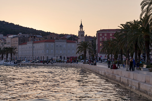 Sunset On The Port With The Church And Monastery Of St Frane In Split Stock Photo - Download Image Now