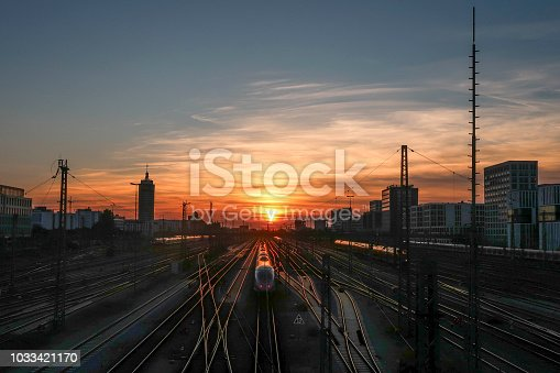sunset, germany, train station, railroad, skyline, Urban, Capital Cities, railway