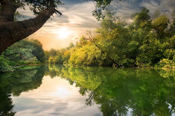 coucher de soleil sur la rivière - fleuve et rivière photos et images de collection