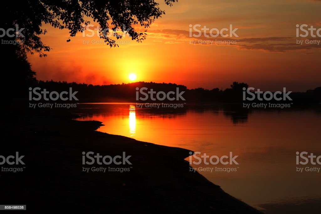 Sunset on the river stock photo