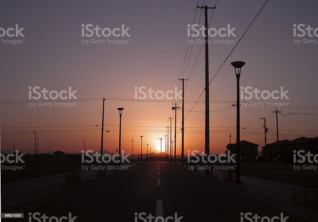 Sunset on the road royalty-free stock photo