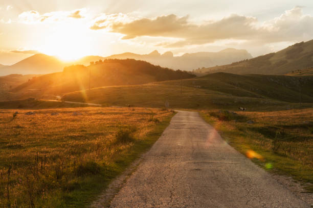 Sunset on the road to Durmitor National Park in Montenegro. stock photo