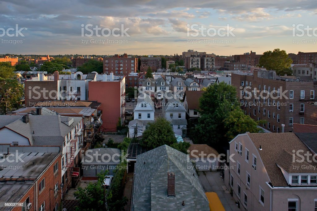 Sunset on the rooftops in Queens, NY royalty-free stock photo