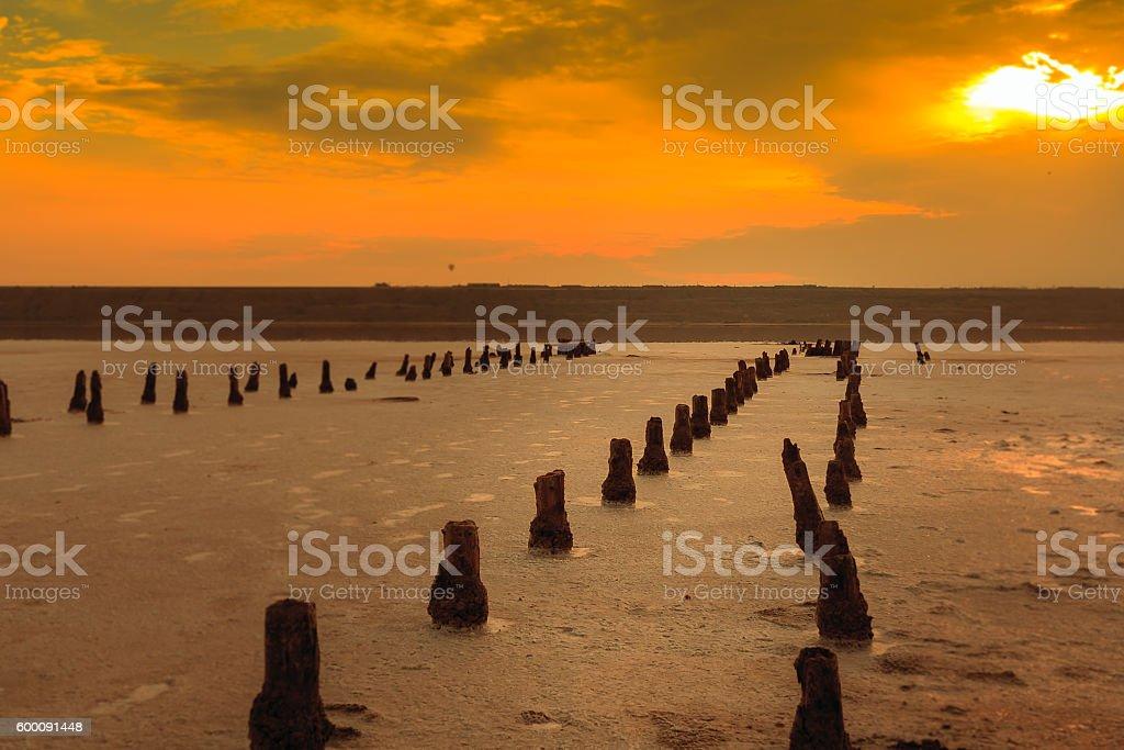 Sunset on the salty estuary Kuyalnik. stock photo