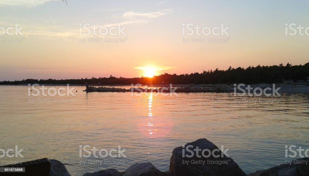 Sunset on the sea in Croatia stock photo