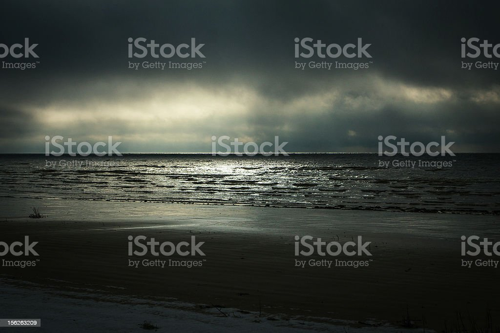 Sunset on the sea in Latvia during Winter royalty-free stock photo