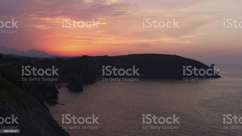 Sunset on the Sea - Puesta de sol en mar royalty-free stock photo