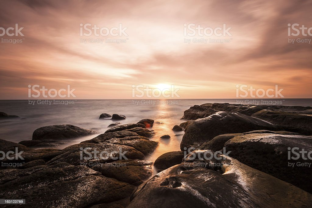 Sunset on the Sea, Tip of Borneo royalty-free stock photo