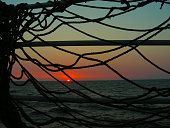 Sunset on the sea. View through the sea nets at sunset.