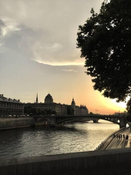 Sunset on the Seine , Paris stock photo