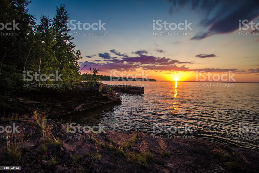 Sunset On The Shores Of Lake Superior stock photo
