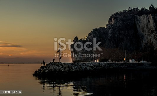 Sunset on the Sistiana Bay in Adriatic Sea, Italy