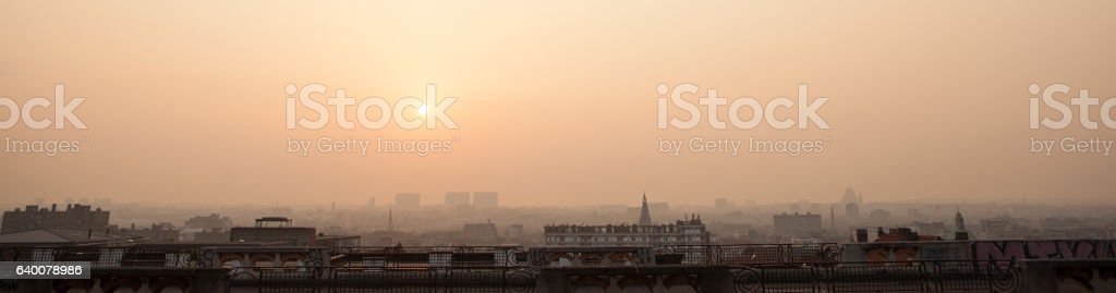 Sunset on the skyline of Brussels stock photo