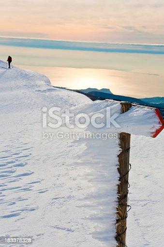 istock Sunset On The Snowy Mountain, Monte Baldo 183378328