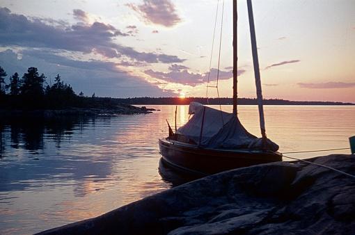 Fälön, Uppsala, Sweden, 1974. Dusk on the Swedish coast.