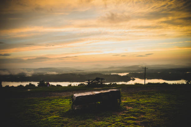 Sunset on the Tennessee River stock photo