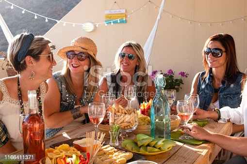 1016084100istockphoto Sunset on the terrace field. Bright golden light and group of beautiful women in friendship celebrating a birthday with vegan food and drinks 1166411371