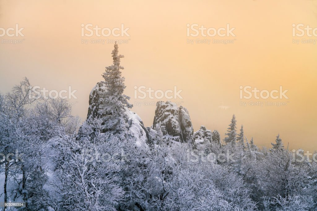 Sunset on the top of mountain, South Ural, Russia stock photo