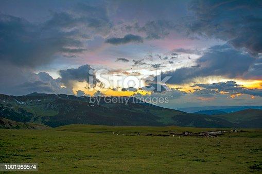 Sunset on the valley of Transalpina