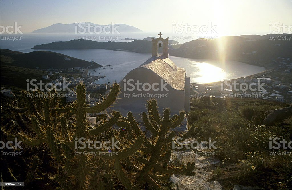 sunset on the white church royalty-free stock photo