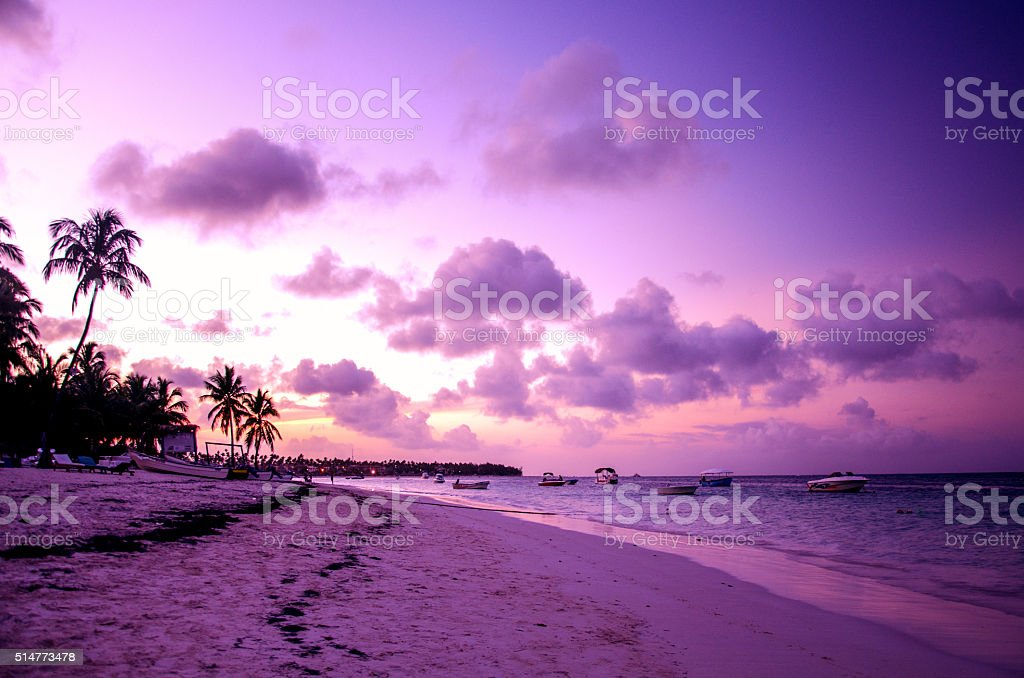Sunset on tropical beach Punta Cana, Dominican Republic stock photo