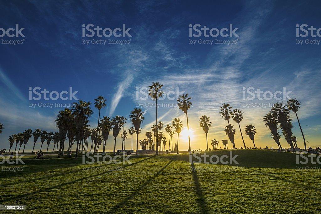 Sunset on Venice Beach royalty-free stock photo