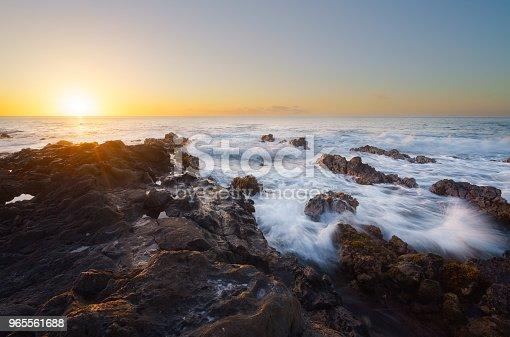 Beautiful sunset on volcanic rocks in Saint-Leu,Reunion Island