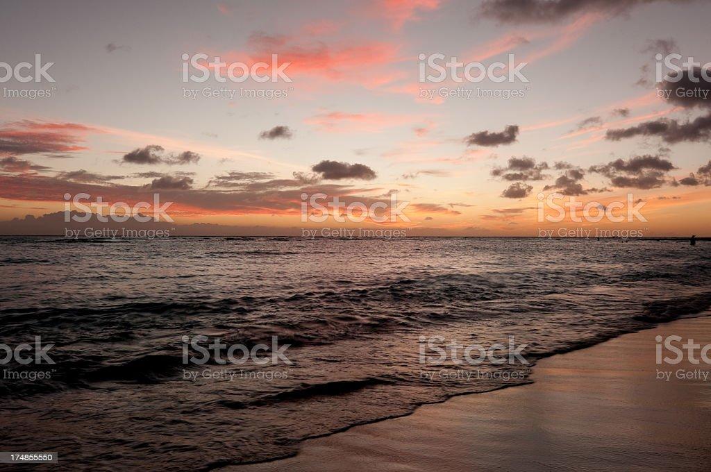 Sunset on Waikiki Beach royalty-free stock photo