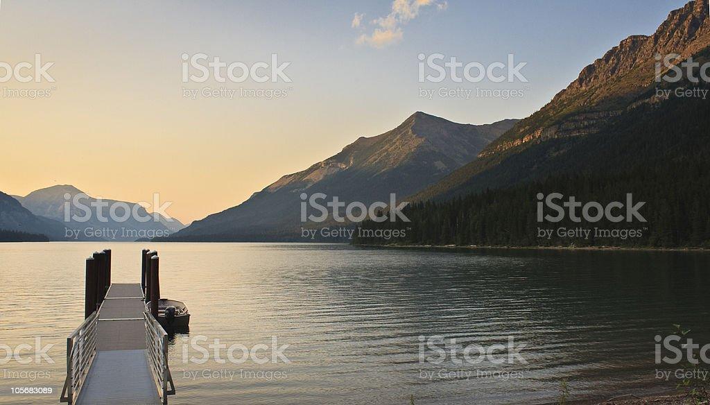 Sunset on Waterton Lake stock photo