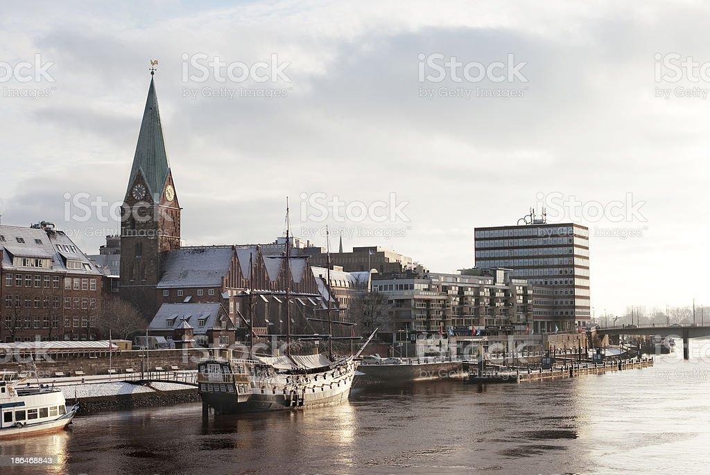 Atardecer en Weser - foto de stock