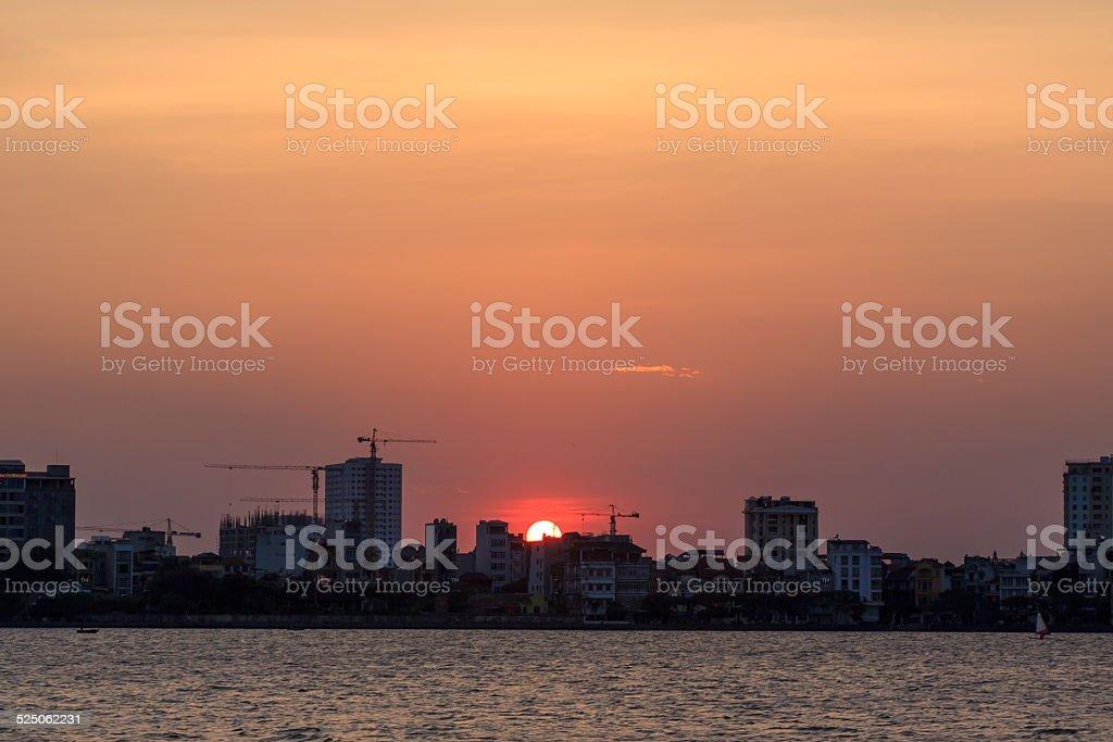 Sunset on west lake stock photo