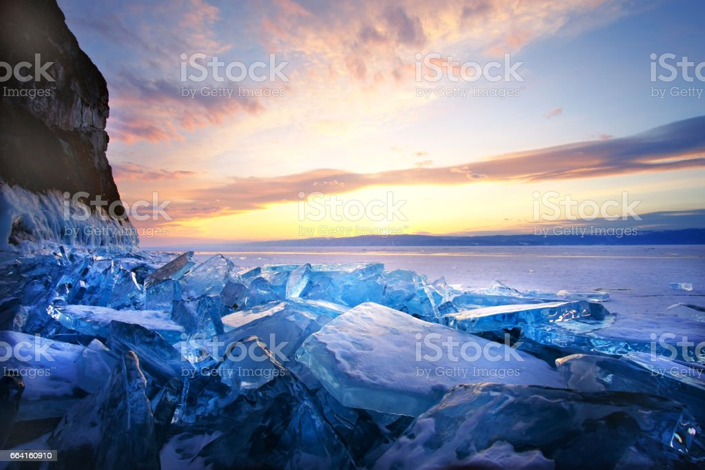 Sunset on winter Lake Baikal stock photo