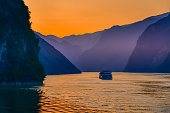 golden hours sunset on the Yangtze river, three gorges, China