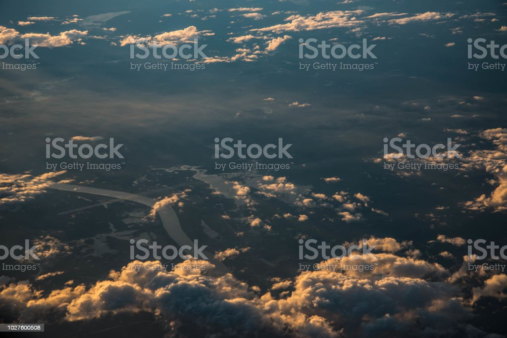 Sunset Or Sunlight Above Cloud View From Airplane Window Beautiful