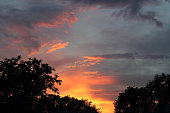 Sunset or sunrise, dramatic sky, colorful background. Selective focus.