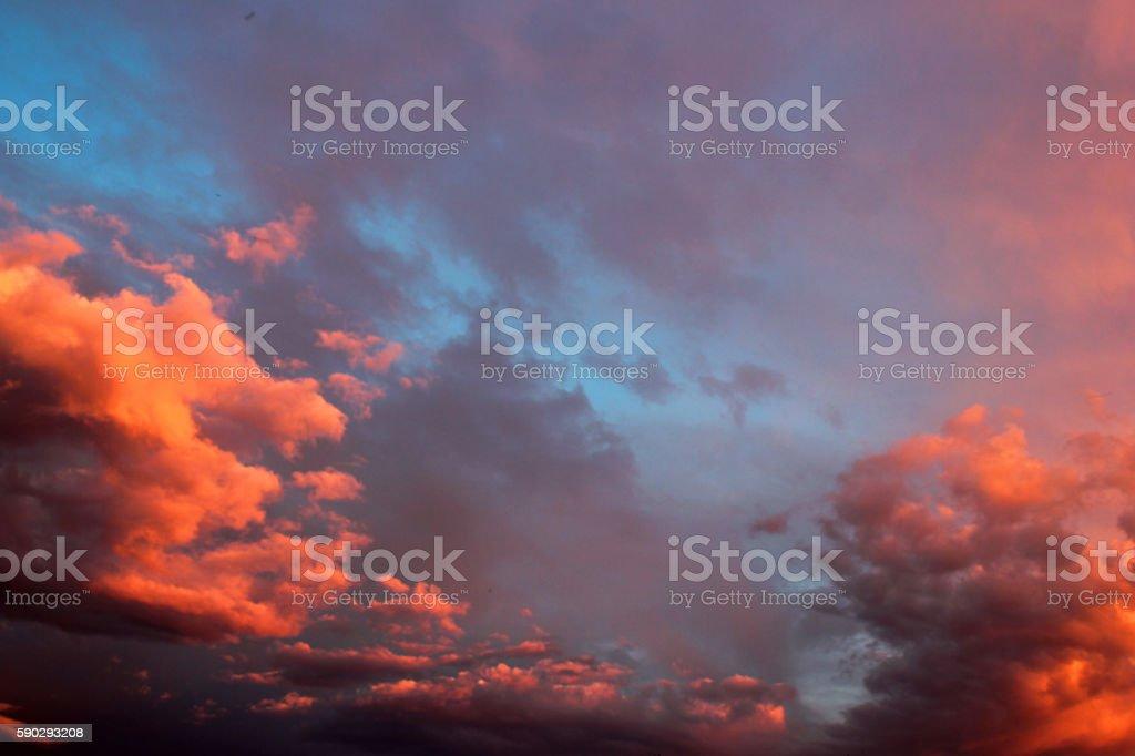 Sunset orange clouds in evening sky royaltyfri bildbanksbilder