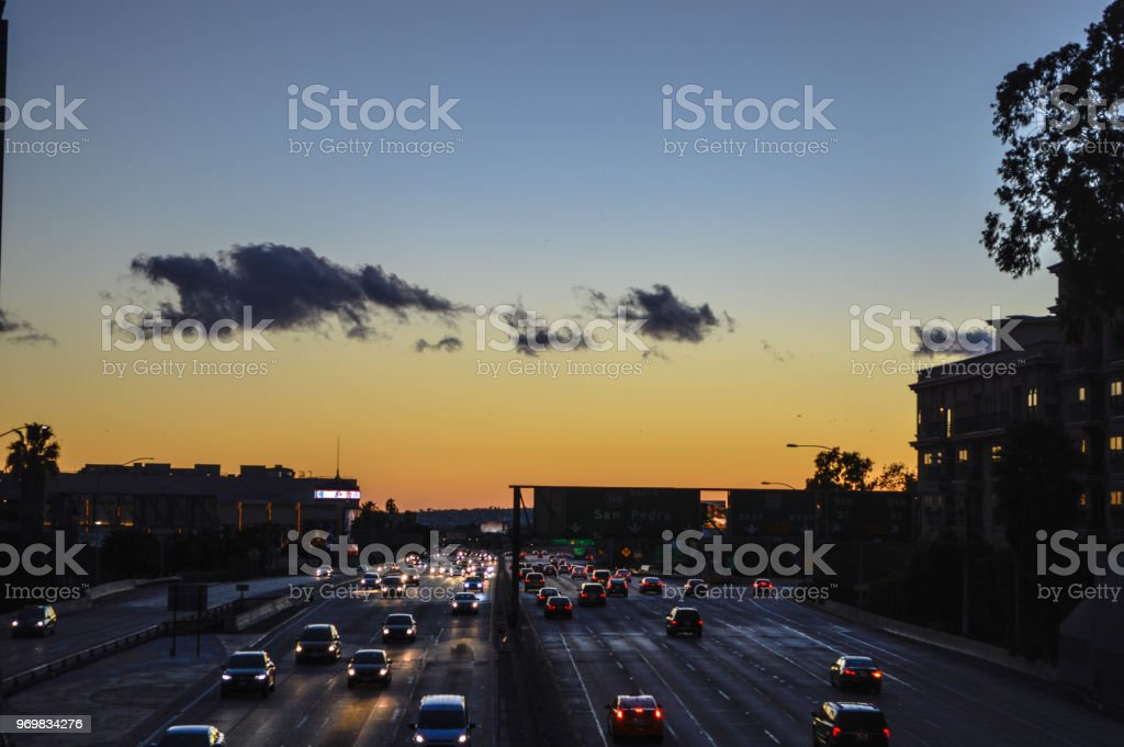 Sunset Over 110 Freeway In Downtown Los Angeles Stock Photo