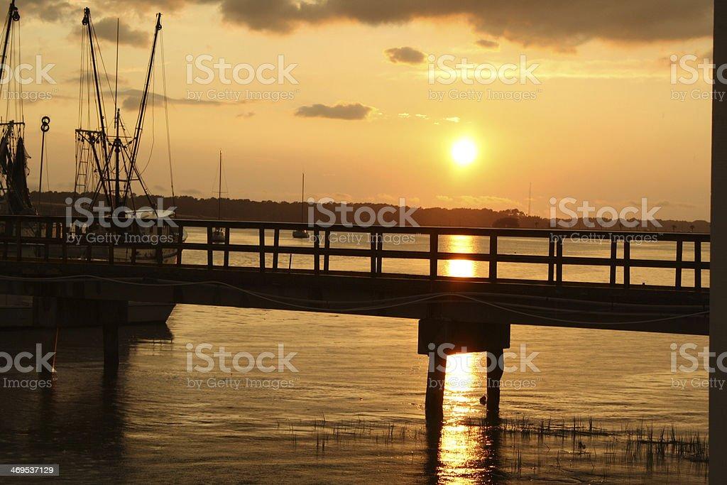 Sunset Over a Carolina Pier royalty-free stock photo