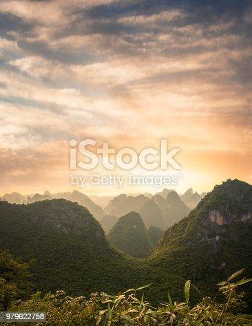 Sunset Over A Karst Landscape On Cat Ba Island In Vietnam