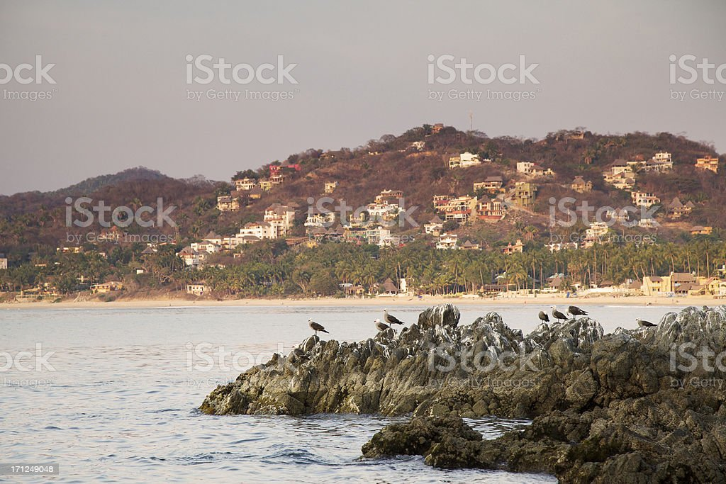 Sunset Over a Mexican Village royalty-free stock photo