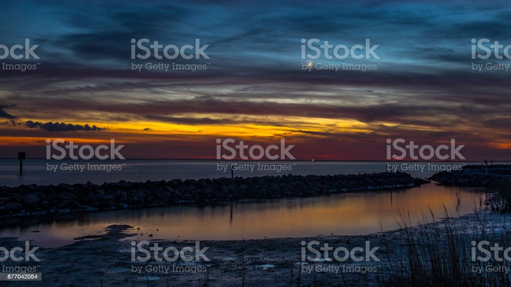 Sunset over a Tidal Pool stock photo