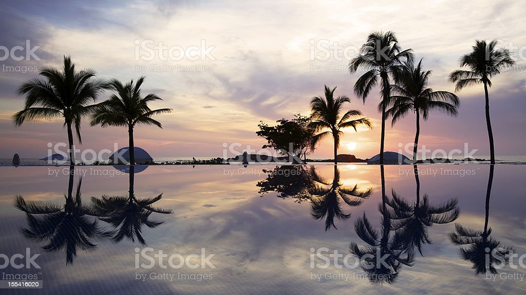 Sunset Over a Tropical Infinity Pool stock photo